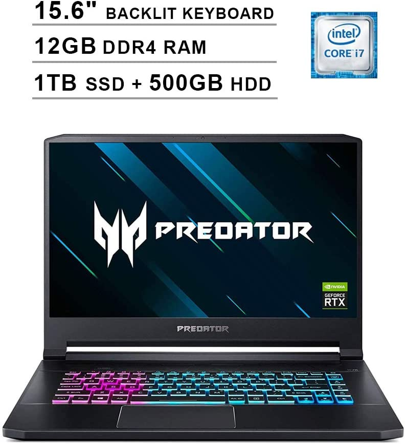 2020 Acer Predator Triton 15.6 Inch FHD 1080P Gaming Laptop (Intel 6-Core i7-9750H up to 4.5GHz, NVIDIA GeForce RTX 2060 6GB, 12GB DDR4 RAM, 1TB SSD (Boot) + 500GB HDD, Backlit KB, Windows 10)