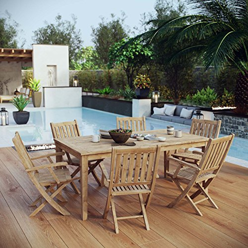 - Modway EEI-3206-NAT-SET Marina Premium Grade A Teak Wood 7-Piece Outdoor Patio Dining Furniture Set, Natural