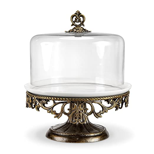 Silver Cake Stand With Glass Dome