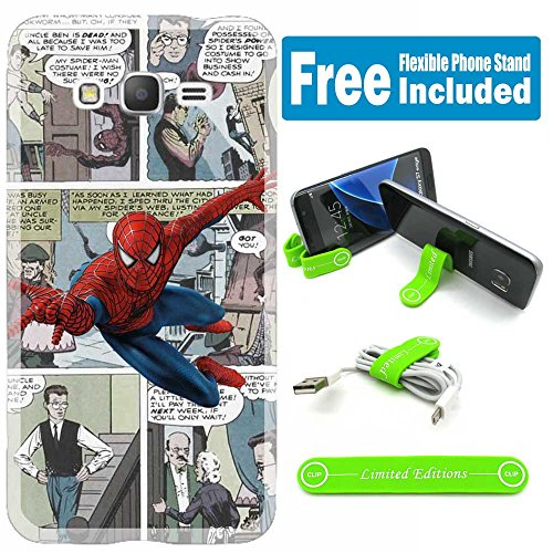Samsung Galaxy Core Prime (G360) Cover Case Skin with Flexible Phone Stand - Comics Spiderman Cartoon V