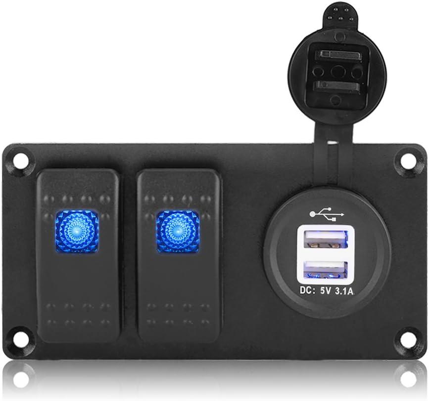 KIMISS Interruptor basculante LED azul 2 Gang, Panel de interruptores de aluminio con puertos USB duales para automóviles de 12V-24V, barcos marinos, yates