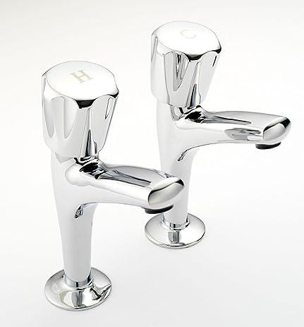 Amazon.com: Hot & Cold Labeled Bathroom/Kitchen Tap Set - Twist ...