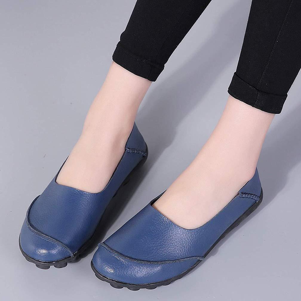 Damen Hishoes Mokassin Fahren Leder Loafers Flache Bootsschuhe doWrCexB