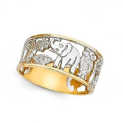 14 K Amarillo Oro Blanco Herradura trébol 13 elefante búho anillo buena suerte encanto banda dos tono 10 mm: Amazon.es: Joyería