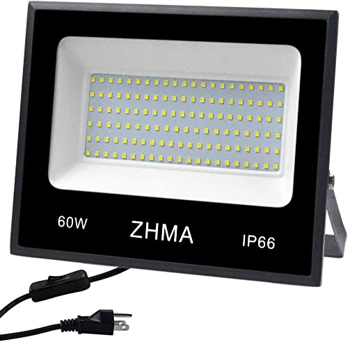 ZHMA 60W 300W Halogen Bulb Equivalent , LED Flood Light Outdoor,Super Bright Led Work Lights, Led Spotlight,Garage,Garden,Shop,Yard and Lawn Outdoor Lights,IP66 Waterproof,5400lm,6500K White Light