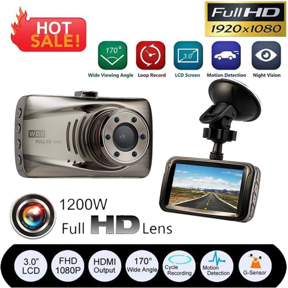 "3.0/""  LCD 170° Full HD 1080P Car Camera DVR Night Vision Dash Cam Recorder HDMI"