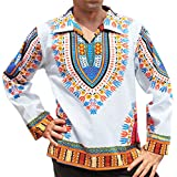 RaanPahMuang Brand European Poets Collar Long Sleeve Shirt African Dashiki Art, Small, White/SkyBlue