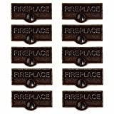 10 Solid Antique Brass Switchplate Tags Fireplace Label Decorative