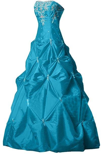 Sunvary Elegant a-Line corazones quinceañera de satén largo vestido fiesta noche fiesta vestidos azul