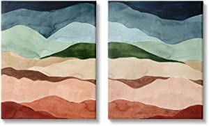 Stupell Industries Abstract Mountain Range Landscape Blue Green Brown, Designed by Grace Popp Wall Art, 2pc, Each 24 x 30, Canvas