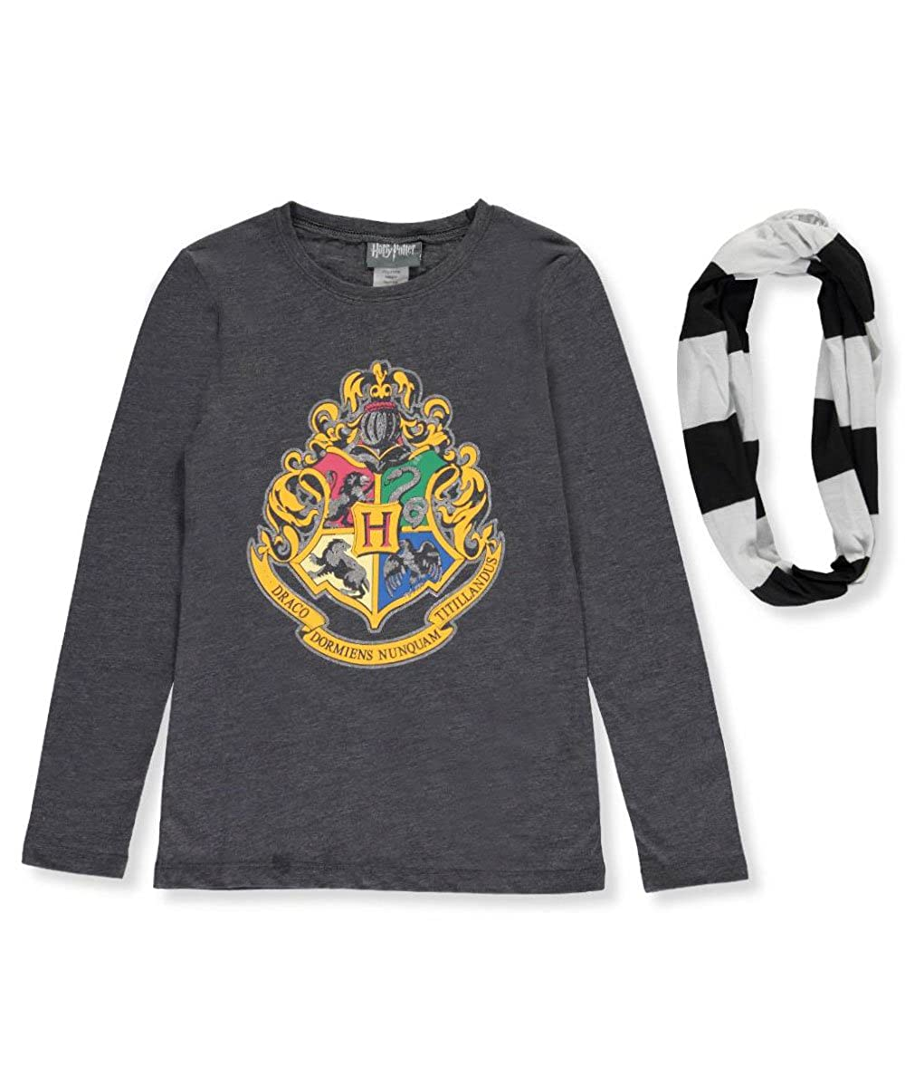 HARRY POTTER Big Girls' L/S T-Shirt with Striped Scarf 14-16
