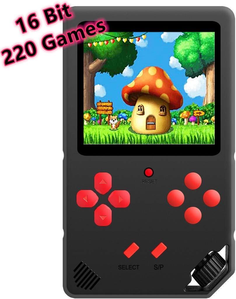 ZHISHAN Tragbare 16 Bit Handheld Spielkonsole für Kinder Retro Spiele (Schwarz)