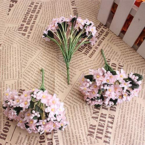 FURUIS : 12PCS Mini Fabric Cherry Plum Blossom Artificial Silk Baby Breath Floral Bouquet,Table Arrangements Weddding Decorations -