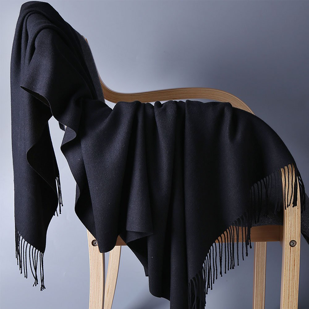 Womens Pashmina Shawl Wrap Scarf - Ohayomi Solid Color Cashmere Stole Extra Large 78''x28'' (Black) by OHAYOMI (Image #3)