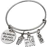 Running Gifts- Runner Bracelet, Running Jewelry, Adjustable Running Charm Bracelet- Perfect Cross Country, Track, Marathon Gifts …