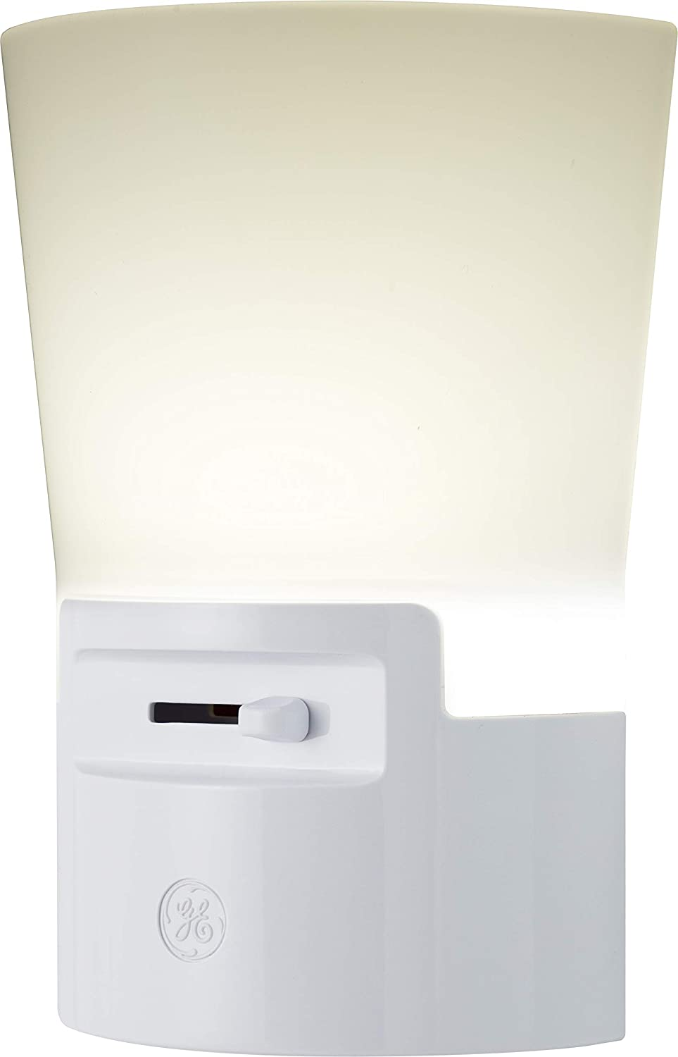 GE Ultrabrite Dimmable Sconce LED Night Light GEPlug-in, Energy Efficient, Dusk-to-Dawn Sensor, Adjustable Brightness, Ideal for Bedroom, Bathroom, Hallway, Nursery, White, 45123, 1 Pack,