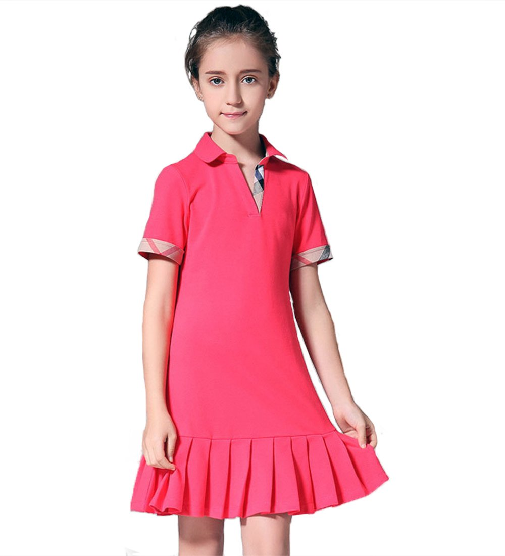 MIQI Girls Activewear Dress Golf Dresses Short Sleeves Watermelon Red 6 Years Old