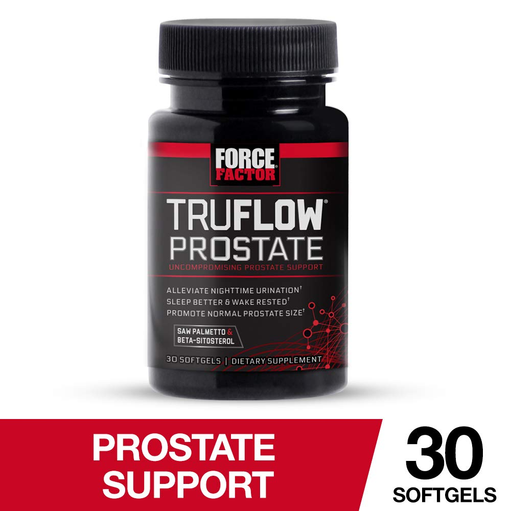 Force Factor TruFlow Prostate Health Support with Beta-Sitosterol and Saw Palmetto - Reduce Frequency, Improve Flow, and Support Normal Size, 30 Count