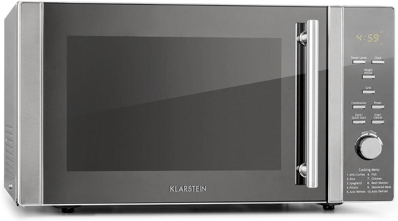 Klarstein Luminance Prime 34L microondas - grill y combi, 34 litros de volumen, Microondas de 1000 W, Grill de 1300 W, 11 niveles, 9 programas automáticos, 2 funciones combi, Plateado