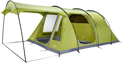 Poled Vango Odyssey 500SC Family Tents Green with Sun Canopy
