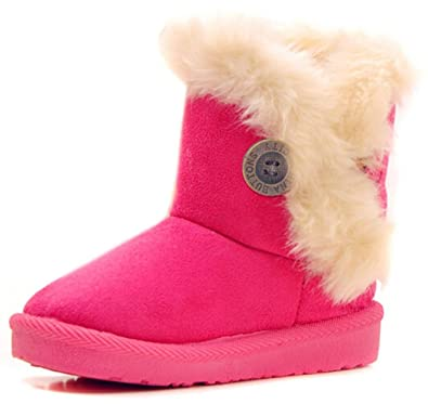 DADAWEN Baby's Girl's Toddler Fashion Cute Bowknot Fur Lining Princess Warm Snow Boots Rose Red US Size 9.5 M Toddler Sx2C57