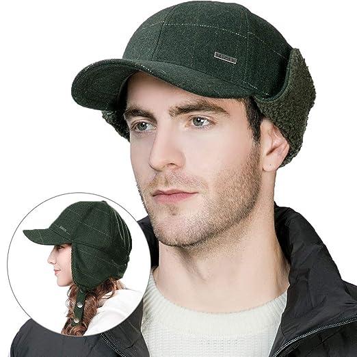 FancetAccessory Winter Trapper Hat Men Wool Baseball Cap Ear Flaps Elmer  Fudd Hat Fur Hunting Snow 0015646cb13