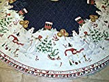 Pre-Quilted Snowmen Christmas Tree Skirt - ''Peppermint Hill'' by Sandi Gore-Evans or Tablecloth Fabric Panel (Great for Sewing a Tree Skirt, Tablecloth, Quilting, Craft Projects) 2 Panels 58'' X 58''