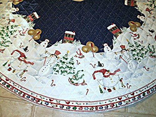 Pre-Quilted Snowmen Christmas Tree Skirt - ''Peppermint Hill'' by Sandi Gore-Evans or Tablecloth Fabric Panel (Great for Sewing a Tree Skirt, Tablecloth, Quilting, Craft Projects) 2 Panels 58'' X 58'' by Christmas Tree Skirt