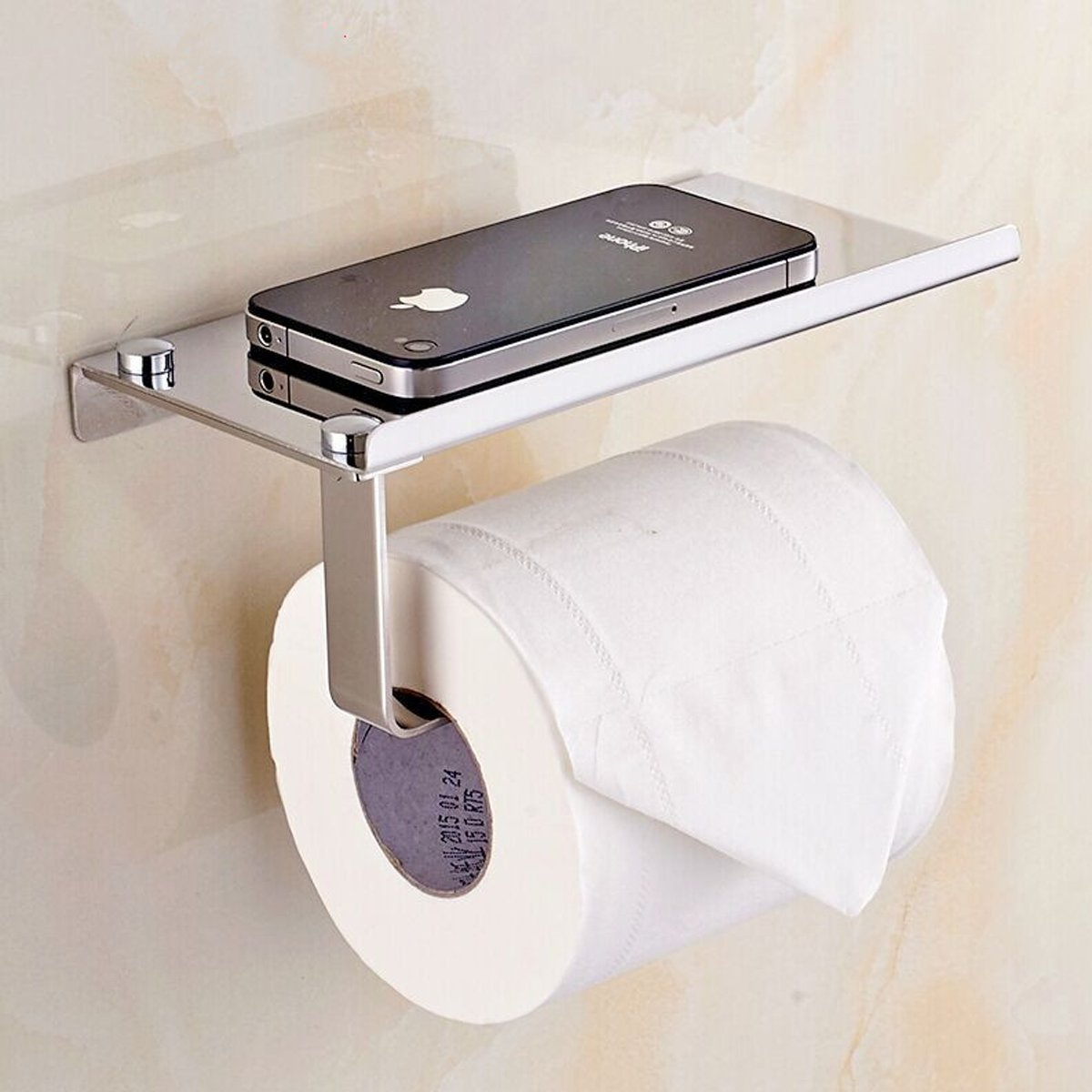 amazoncom bosszi wall mount toilet paper holder sus304 stainless steel bathroom tissue holder with mobile phone storage shelf brushed aluminum home