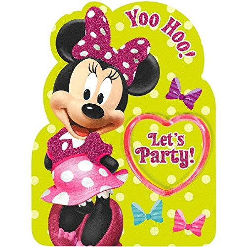 8 Party Invitations Piece (Amscan Disney Minnie Mouse's Yoo-Hoo Let's Party! Deluxe Jumbo Postcard Invitation (8 Piece), 8