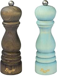 Bisetti Shabby 7.5 Inch Salt & Pepper Mill Set With Adjustable Grinder, Made in Italy