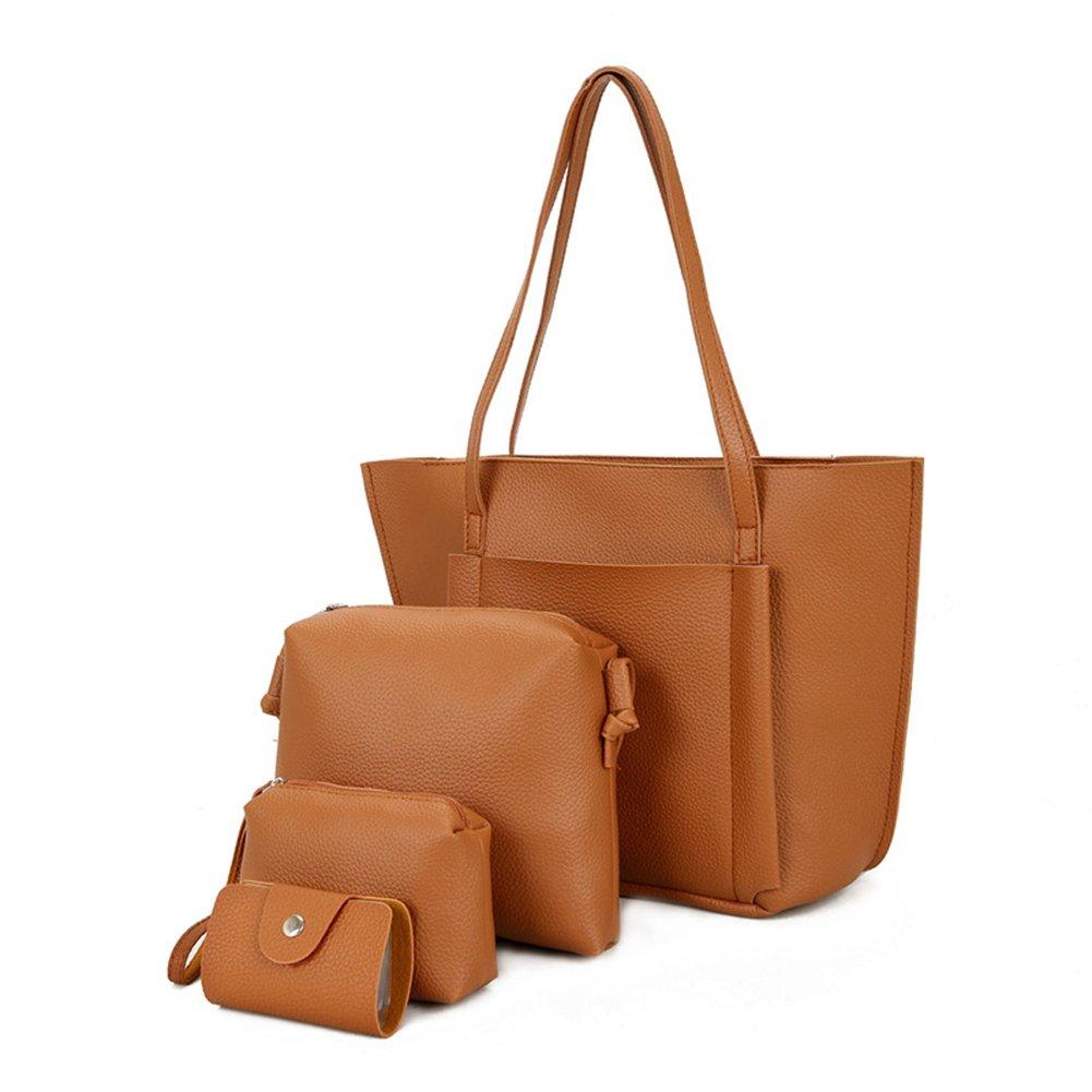 Bangle009 Big Promotion 4 Pcs/Set Women Faux Leather Cross Body Shoulder Bag Handbag Card Holder Clutch Black