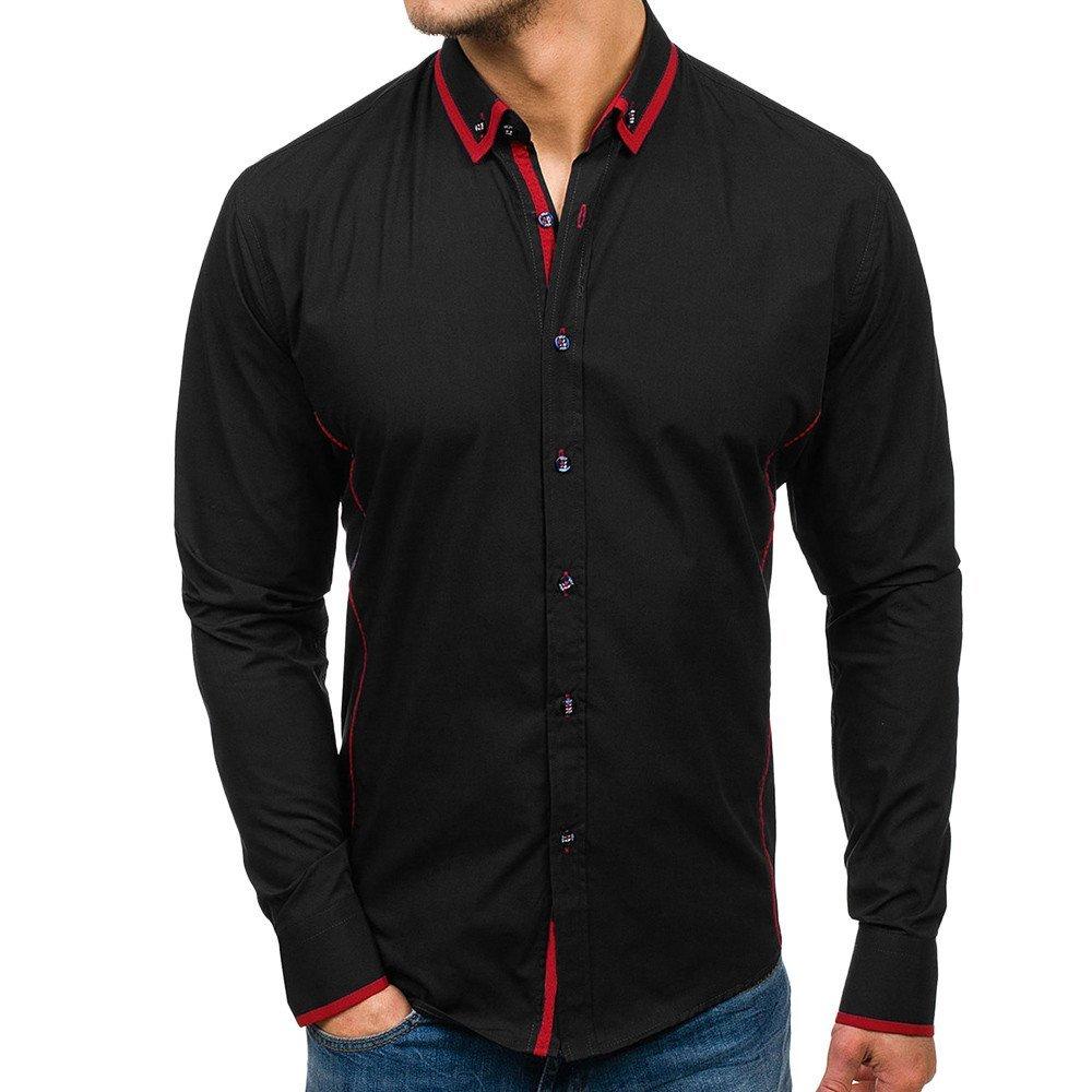 Men's Shirt -HOT SALE!! Farjing Men Shirt Fashion Solid Color Joint Male Casual Long Sleeve Shirt (M,Black)