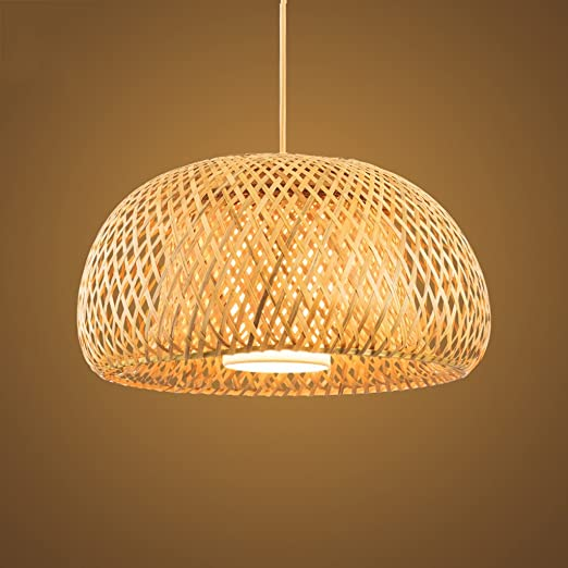 Wooden Ceiling Lamp/ Wood Lamp/ Classic Pendant Light/Handmade Bamboo  Rattan Lamp/