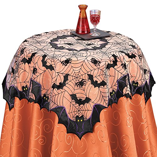 Bats and Spiders Halloween Table Linens, Square