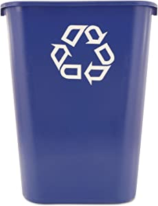 Rubbermaid 295773BE Large Deskside Recycle Container w/Symbol, Rectangular, Plastic, 41.25qt, Blue