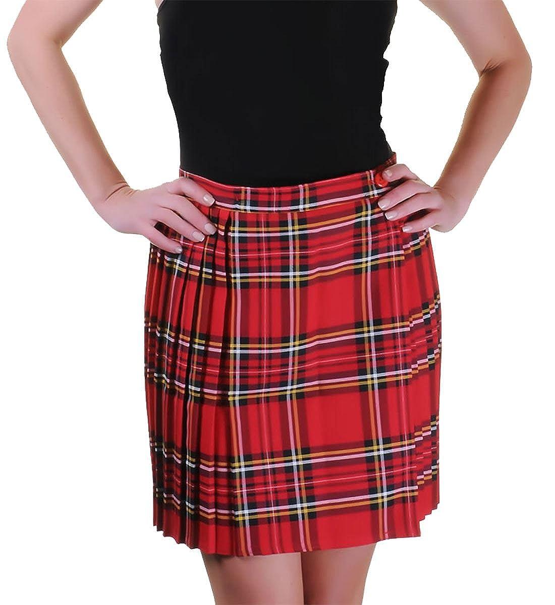 Rimi Hanger Ladies Tartan Pleated Wrap Over Buttoned Kilt Skirt US 4-20