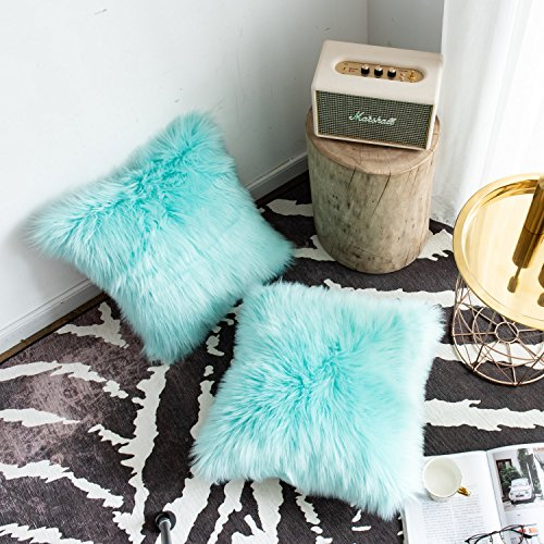 Foindtower Set of 2 Mongolian Faux Fur Square Decorative Throw Pillow Covers Cushion Case New Luxury Series Merino Style for Livingroom Couch Sofa Nursery Bed Home Decor 18x18 Inch (45x45cm) Turquoise