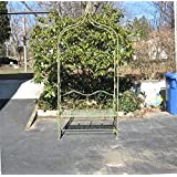 """Arbor/ Garden Arch with Bench 95"""" High- Wrought Iron - Antique Mint Finish"""