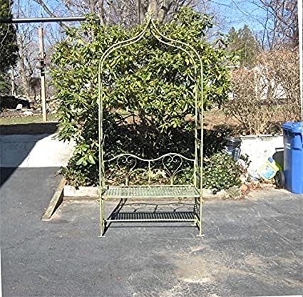 Arbor/ Garden Arch With Bench 95u0026quot; High  Wrought Iron   Antique Mint  Finish
