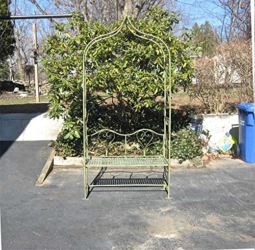 "Arbor/ Garden Arch with Bench 95"" High- Wrought Iron - Antiq"