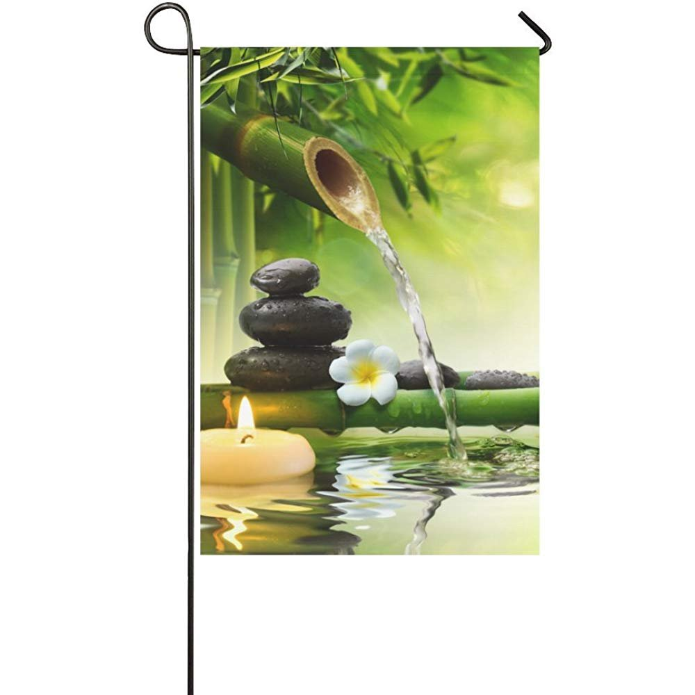 Welcome Flags Japanese Bamboo Fountain Spa Stones Flow Water Yard Garden Flag 12 x 18 Inches