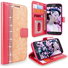 Galaxy J7 Case, Cellularvilla [Diamond] [Card Slot] Embossed Flower Design Pu Leather Wallet Case Flip Protective Cover For Samsung Galaxy J7 (2017)/ J7 Sky Pro / J7 Perx / SM-J727 (Peach Pink Bling)