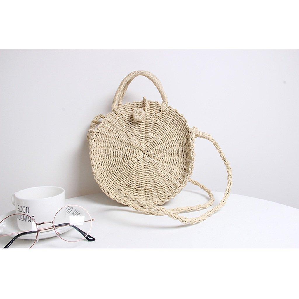 ZCM Bolso Simple de Hombro Señora Straw Bag Personalidad Moda Simple Bolso Weave Vacaciones Round Beach Portable Crossbody Bag- (2 Colores Opcionales) (Color : Marrón) 3d4a4a
