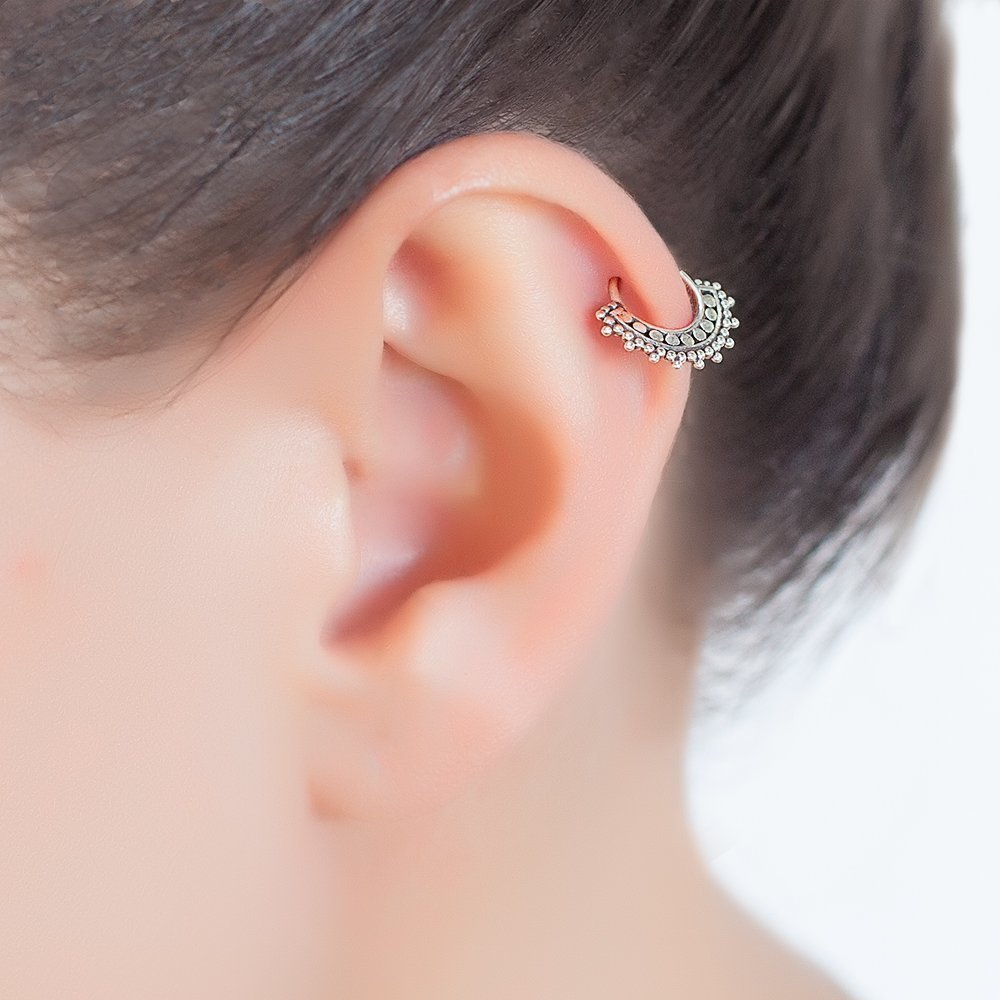 Silver Cartilage Earring, Tribal Indian Hoop Ring Piercing fits also Helix, Tragus, Rook, Indian Style, 20g, Handmade Jewelry