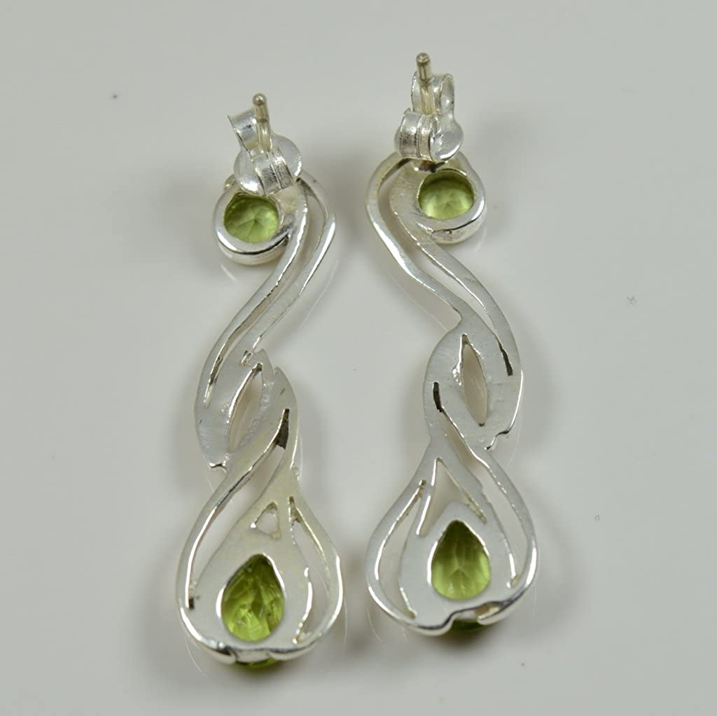 Gemsonclick Natural Pear Peridot 925 Sterling Silver Stud Earring For Womens Casual Wear Fashion Jewelry