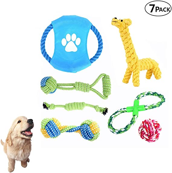 WTTTTW Paquete de 7 Juguetes para Cachorros de Perro, Juguetes para Masticar con Cuerda para Perros, Disco Volador para Perros, Pelota de Goma y dentición para Cachorros para Perros pequeños medianos: Amazon.es: