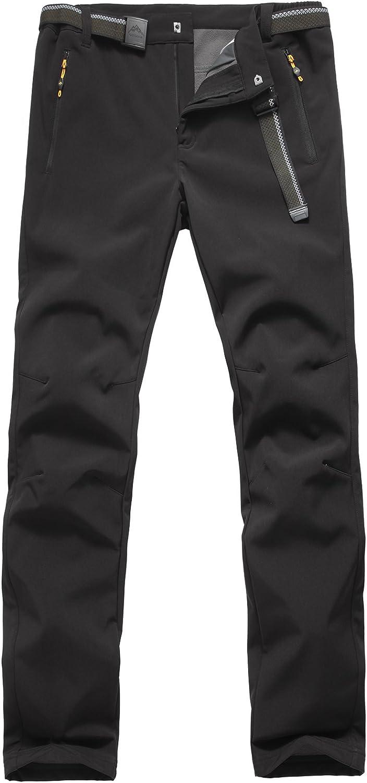 Pantalones de Montaña Hombre Pantalon Impermeable Trekking Invierno Transpirable Softshell Pantalón de Senderismo