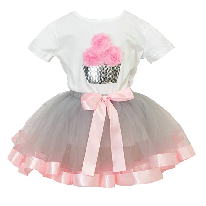 Guzesion Girls Birthday Tutu Princess Dress Shirt Rainbow Skirt Outfit 2 12 Years Old