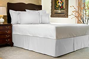 Brand New 3 Pc Bedskirt 700 TC White Striped King Size With 11